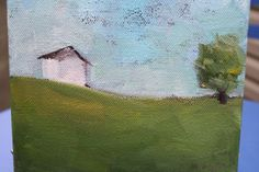 Landscape Painting abstract tree and House by MaggiePainting