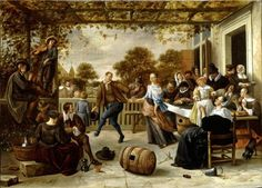 Jan Steen, Dancing Couple on a Terrace, ca. 1662 - Private Collection
