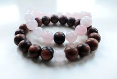 Couples Bracelets Rose Quartz Bracelet Tiger Ebony by ElvenValley