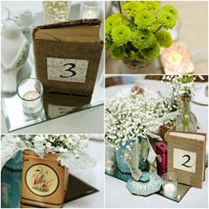 Burlap Book Cover as Wedding Table Numbers