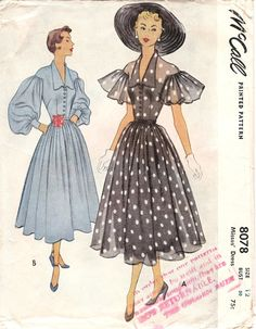 McCall vintage sewing pattern 8078 1950s party dress black white polka dots sheer blue puff sleeves full skirt color illustration