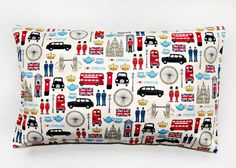 12 x 18 inch lumbar London cushion cover, UK red bus, taxi, Union Jack pillow cover