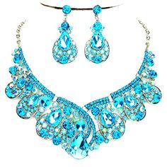Aqua Blue Ab Rhinestone Statement Silver Chain Necklace Earrings Set Affordable Wedding Jewelry ** You can find out more details at the link of the image.