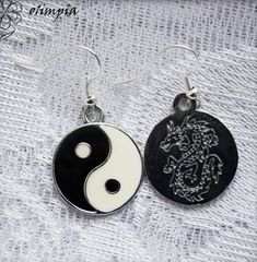 Ying Yang earring symbol jewelry black white zen earring hippie round everyday earring china asian e