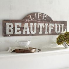 Life is Beautiful Wall Decor. Dinner parties with your friends. Our exclusive piece expresses the fundamental truth behind each of your cherished moments. Kitchen Wall Design, Kitchen Wall Art, Kitchen Decor, Kitchen Ideas, Beautiful Wall, Life Is Beautiful, Country Farmhouse Decor, Farmhouse Signs, Farmhouse Table