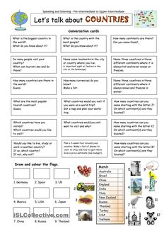 Let´s talk about COUNTRIES worksheet - Free ESL printable worksheets made by teachers English Tips, English Class, English Lessons, Learn English, English Vocabulary, English Grammar, Teaching English, English Language, English Activities