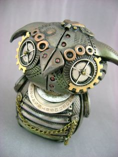 MechOwlie - Fully Customizable - Freestanding Industrial Steampunk Owl Sculpture...For @Cheryl Rayner