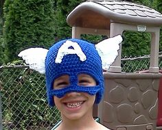 Captain America Hat with optional red and white by megscutekidshop, $20.00'    **picture is before red and white ties**