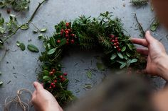 Winter Wreath Making — My Blue&White Kitchen Make Your Own Wreath, How To Make Wreaths, Wreath Making, Christmas Mood, 12 Days Of Christmas, Christmas Garden, Woodland Christmas, Christmas Countdown, Christmas Gifts