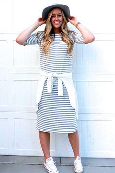 Everyday Tee Dress: Grey Stripe