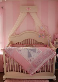 Ivory Lace Pink Nursery Bed Crown Canopy by SoZoeyBoutique on Etsy