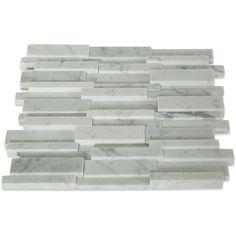 Shop 12x12 Illusion 3D Brick Pattern in Polished White Carrara Marble at TileBar.com Brick Patterns, Rustic Shelves, Carrara Marble, Bath Design, Master Bathroom, Illusions, 3d, Shop, Design Ideas