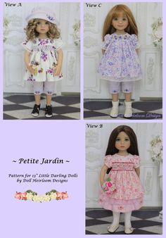 """PDF """"Petite Jardin"""" Smocked and Emroidered Top, Skirt, and Pants Pattern for Dianna Effner Little Darling Dolls by Doll Heirloom Designs"""