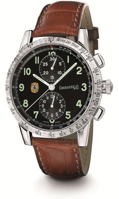 Tazio Nuvolari Grande Taille.   Ref. 31036.5  Mechanical automatic winding chronograph, 43mm steel case, sapphire glass anti-reflective, screw-in crown, caseback fixed by 8 screws, crocodile strap, steel buckle - 18mm. Optional: deployment clasp Déclic.