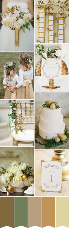 Glamorous Gold wedding color palette with shades of gilded gold, vintage cream and a hint of natural green rustic wedding color schemes Gold Wedding Colors, Winter Wedding Colors, Wedding Color Schemes, Green Wedding, Wedding Themes, Wedding Styles, Wedding Flowers, Wedding Decorations, Gold Wedding Theme