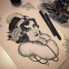 Haven't painted in a while, studio is closed over Christmas , we will be back first week of January @blackgardentattoo #sketch #design #girlhead #1920s #painting #fwacrylic