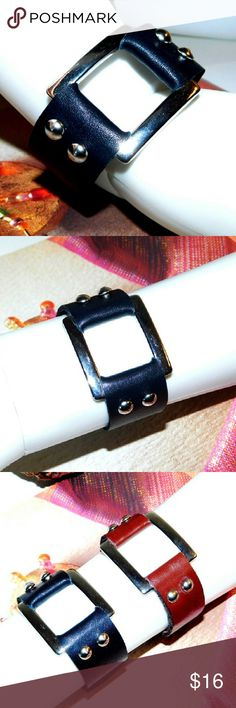 HANDMADE Black leather square bracelet Simple and stylish this bracelet is made out of genuine leather. It is soft and comfortable to wear. Snap on closure. HANDMADE  LEATHER BLUMS Jewelry Bracelets