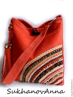 """Купить Сумка """"Алый закат"""" - ярко-красный, сумка алая, Сумка с вышивкой, сумка…"""