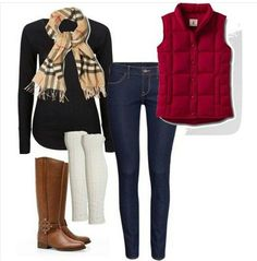 Red puffer vest, Burberry scarf (or imitation on a budget) Skinny jeans, Black super soft Splendid long sleeved tee and riding boots. Save or Splurge when you pick which option. Exploring life Together Winter Fashion Outfits, Fall Winter Outfits, Autumn Winter Fashion, Winter Clothes, Winter Wear, Winter Style, Winter Dresses, Red Puffer Vest, Red Vest
