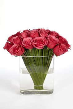 Modern Roses ..... A grass fan acts as a sculptural frame for these exquisite Ingrid Louisa Roses  This arrangement is one of our best sellers  Vase included