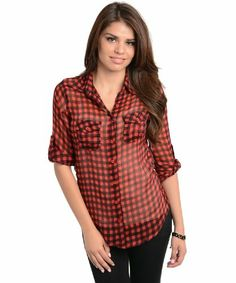 2LUV Women's Gingham Checkered Print Button Top