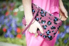 Kurt Geiger pink leopard print clutch