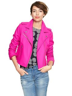 Bright wool moto jacket