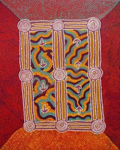 Warlukurlangu Artists - Teddy Jakamarra Gibson - Yankirri Jukurrpa (Emu Dreaming) - Ngarna - 790/11ny