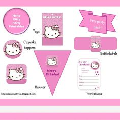 Hello Kitty Party Pack - free printables |Keeping it Real