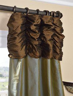 Ruched Thai Silk Curtain   Chocolate Brown Header U0026 Sea Blue Panel Ruched  (Shirred)