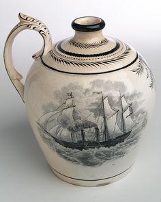 Creamware Rum Bottle ~1837 - National Maritime Museum