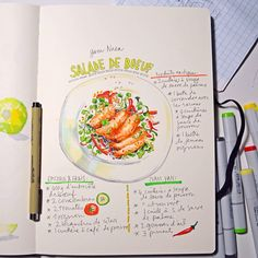 Hot Thai beef salad sketch