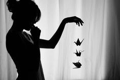 girl with paper cranes - Google Search