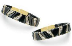 Best Diamond Bracelets  : A PAIR OF HEMATITE DIAMOND AND GOLD BRACELETS BY MARINA B.