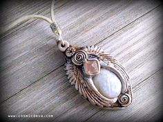 Angel Wing Necklace with Rainbow Moonstone and Fluorite P-547