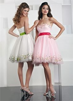 Lovely Strapless Sweetheart A-line with Sequins Knee Length Tulle Homecoming Dress HD1707 www.homecomingstore.com $116.0000
