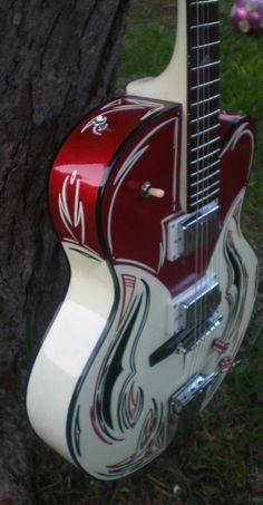 HiTone Hot Rod Hollowbody Pin Striped by hitoneguitars for the Art Guitar Auction at the Wildflower Festival.