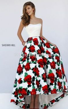 Sherri Hill 50027 Strapless Floral A Line 2016 Prom Dress