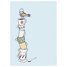 bird on teacups (kate sutton)
