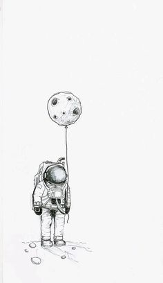Imagen de moon, astronaut, and drawing