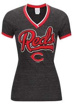 Cincinnati Reds T-Shirt - Womens Black Reds Tri-Blend Raglan Short Sleeve Tee http://www.rallyhouse.com/shop/cincinnati-reds-5th-and-ocean-88881101?utm_source=pinterest&utm_medium=social&utm_campaign=Pinterest-CincinnatiReds $32.99