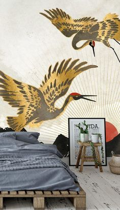 Get ready to fall in love with this utterly stylish Elegant Flight II wallpaper mural. With gorgeous gold, red and black tones, pair this stunning crane wallpaper with a range of room accessories in similar shades. Perfect for a bedroom, lounge and more, where will you install this inspired Japanese wallpaper? #orientalwallpaper #chinesewallpaper #birdwallpaper #bedroominspo Oriental Wallpaper, Chinese Wallpaper, Bird Wallpaper, Bedroom Wallpaper, Gold Rooms, Mountain Wallpaper, Red Paper, Room Accessories, Paper Lanterns