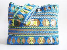 τσάντα με κέντημα, τσάντα από λινάτσα, χειροποίητη τσάντα