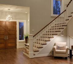The walls are Ben Moore stingray 1527 and the trim is Ben Moore white dove. Originals Engineered Maple Pioneer hardwood floor