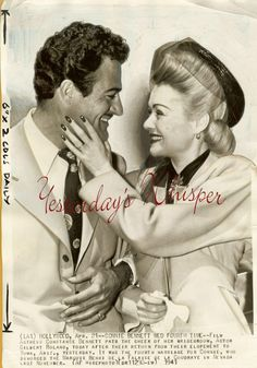 Constance Bennett with husband Gilbert Roland. Hollywood Couples, Old Hollywood Movies, Hollywood Walk Of Fame, Hollywood Fashion, Celebrity Couples, Celebrity Weddings, Classic Hollywood, Hollywood Style, Hollywood Actresses