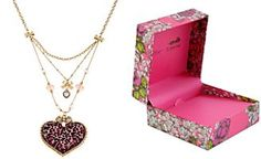 Betsey Johnson Gold-Tone Pink Leopard Heart Three-Row Necklace