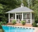 Poolside Perch - 17 Sparkling Pools - Southern Living - This pool house boasts an open-air living room with all the comfort and attitude of its indoor counterparts. See more of this Summer House Backyard Retreat Pool Cabana, My Pool, Outdoor Rooms, Outdoor Living, Living Pool, Pavillion, Gazebos, Casa Patio, Patio Interior
