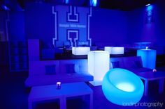 Blue Theme Bar Mitzvah LED Furniture {Party Venue: Life...The Place To Be, Londin Photography} - mazelmoments.com