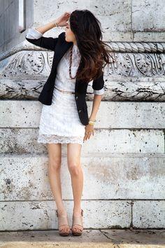 White lace dress+ Navy blazer+ nude pumps