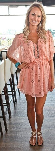 Coral Dress with Breezy sleeves. Pretty!